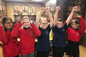 Pupils at the school celebrate the award.