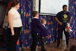 Tom Davis spoke to the children about his journey