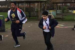 Tom Davis joined in with the school'sfitness morning
