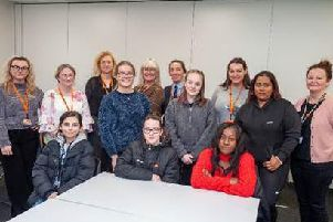 Staff and students of West Herts College in Hemel Hempstead with staff from Bellway North London