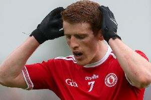 Peter Harte is dejected after his late red card against Monaghan