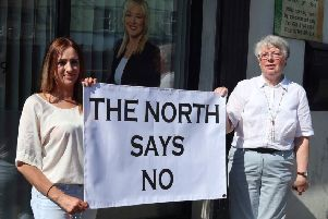 Pro-life campaigners Catherine Sewell (left) and Doris Vincent making their point outside Michelle O'Neill's constituency office in Coalisland in June