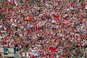 All Ireland Senior Football Championship Final 21/9/2008'Tyrone'General view of Tyrone fans in Hill 16'Mandatory Credit �INPHO/Cathal Noonan