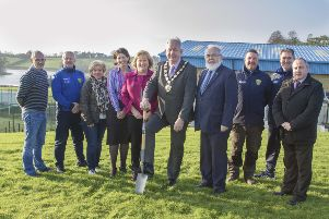 Chair of Mid Ulster District Council, Councillor Sean McPeake is pictured at the cutting of the first sod of new Community and Sports Hub in Dungannon with; Councillor Dominic Molloy; Joe McAree, Dungannon United Youth; Geraldine McVey, South West College; Councillor Kim Ashton; Mary Coney, Department for Communities; Francie Molloy, Chair of Coalisland and Dungannon Neighbourhood Renewal Partnership; David Magee, Dungannon United Youth; Dixie Robinson, Dungannon United Youth and Councillor Joe O'Neill.