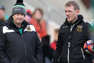 Saints attack coach Sam Vesty (right)