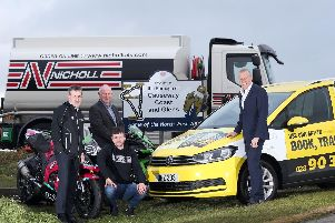International North West 200 Event Director, Mervyn Whyte is joined by new title sponsors William McCausland of fonaCAB and Gary Nicholl of Nicholl Oils, and leading rider Adam McLean (McAdoo Racing).
