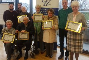 "Pictured with their certificates are �ine N� Riain, Proinsias Caomh�nach, M�ire Mhic Uaid, M�ire, Mhic �anaigh, Helen Mhic Ruair�, �amonn "" Doibhlin, Chairperson of An Chraobh Rua, Se�n Ant�n "" Conall�in along with Secretary P�l "" Gallch�ir and Treasurer (outgoing Chairperson) P�draig Mac Ard��l."