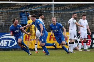 Dungannon's Douglas Wilson celebrates his goal.  Photo by David Maginnis/Pacemaker Press