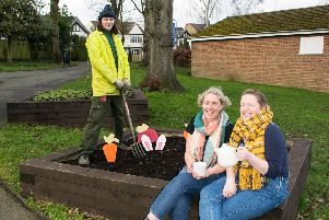 Rugby Borough Council gardener Owen Green joined Emma Ward and Eilis Newman, from Gloria and Lil's at The Tool Shed Cafe, on the hunt for carrots, radishes and bunny ears in Caldecott Park.
