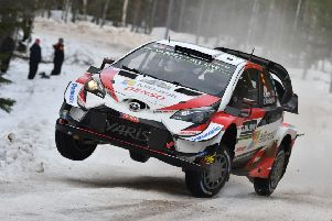 Kris Meeke of Great Britain and Sebastien Marshall of Great Britain compete in their Toyota Gazoo WRT Toyota Yaris WRC during the Shakedown of the WRC Sweden