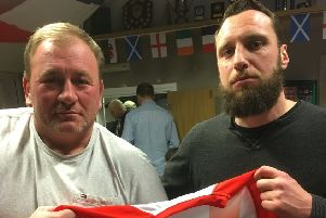 Matt Mahoney (right) with Eastbourne first team manager Adrian Norwood