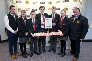 Aughnacloy College pupils Molly Bradley, Aaron Bristow, Jordan Anderson, Jack Todd and Kirsty McNeill pictured at the 2019 ABP Angus Youth Challenge semi final with Arthur Callaghan ABP NI Blade Farming Co-ordinator and George McWhirter, Northern Irish Angus Producers Group.