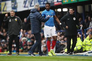 Kenny Jackett's congratulates Omar Bogle on his goal-scoring performance after substituted against Scunthorpe. Picture: Joe Pepler
