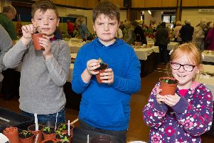 Peter Pyatt, 10, Toby Pyatt, eight and Jess Sheehan, eight from the Hayling Island Horticultural Society Growing Together Club at Mengham Junior School. Picture: Duncan Shepherd