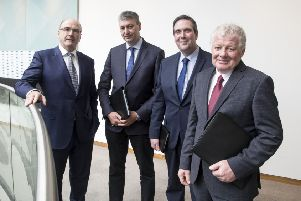 Pictured left to right are Michael Hanley, Group CEO, Alan McCay, Vice-Chairman, Colin Kelso, Vice-Chairman, and Alo Duffy, Chairman of Lakeland Dairies