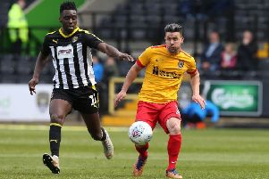 David Buchanan in action for the Cobblers at Notts County on Saturday