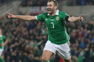 Niall McGinn celebrates his goal against Estonia
