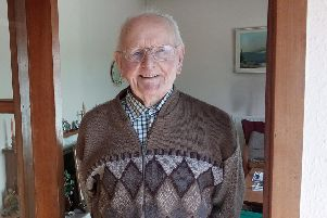 Dave Mullin, aged 100, in his Omagh home
