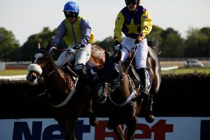 Action from the Peter Mendoza Memorial Placepot Pete Open Hunters Steeple Chase at Fontwell / Picture by Clive Bennett - see more at polopictures.co.uk