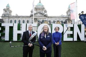 The Epic Journey to The 148th Open comes to Dungannon this Thursday, June 13. Pictured is John Bamber - Chairman,�Royal Portrush Golf Club, Aine Kearney, Tourism NI Director of Business Support and Events and Denise Hayward - Chief Executive, Volunteer Now.