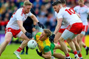 Action from the Ulster Senior Football semi-final Tyrone v Donegal
