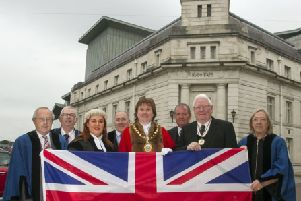 The Mayor and Councillors pictured with the new Deputy Lord-Lieutenant Mr James Perry MBE and Col George Chesney, Chairman RFCA showing their support for Armed Forces Day.