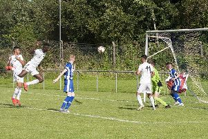 GOAL!. . . .Wolves centre back Filozofe Mabete climbs high to powerfully score from a corner against Coleraine in the O'Neills Foyle Cup u-14 game at Wilton Park, Derry on Tuesday night.