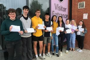 Students at Skegness Academy celebrating their A-level results.