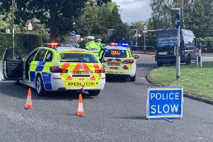 Scene of the hit and run in Redkiln Way, Horsham