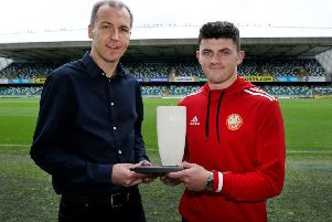 Portadown striker Lee Bonis collects his Championship Player of the Month award for September from Stuart McKinley (Northern Ireland Football Writers' Association chairman).