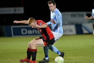 Ballymena United's Andy McGrory (right). Pic by INPHO.