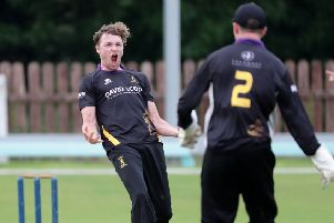 Josh Manley celebrates taking a wicket during a Challenge Cup match for Instonians against Waringstown last summer. David Maginnis/Pacemaker Press