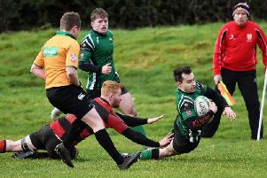 Simon Logue dives over the Tullamore line to score Derry's third try of the match against Tullamore on Saturday. DER0920-105KM