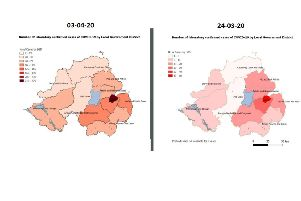 LEFT: The latest map issued by the PHA on 03/04/20; RIGHT: The first map from the PHA, dated 24/03/20 (note the keys are different on each)
