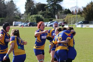 Kenilworth Ladies celebrate after Stav Williams broke through to score the match-winning try. Pictures: Pete Hall