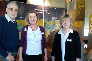 Volunteers Trevor Langley, Kathryn Seren and Christie Priestley