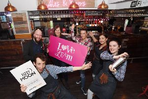 Tom Moon, of Fizzy Moon BrewHouse which is one of the Leamington businesses starring in the video; Gary Jones and Alison Shaw, of BID Leamington; and Nicky Turnham, Alisha Flowers and Amber Crooks, of Fizzy Moon BrewHouse.