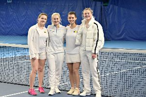 The Lee-on-the-Solent team of April Brown - Kelly Burge - Chloe Efford and Rosie Harfield. National Premier League. Lee-on-the-Solent Ladies at Queen's Club'