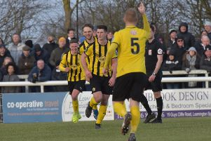 Jack Edwards celebrates his equaliser against Hereford on Saturday. Picture: Louise Smith