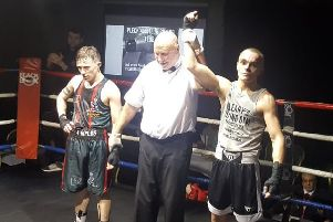 Jake Finch gets his arm raised at Pleck ABC on Friday evening.