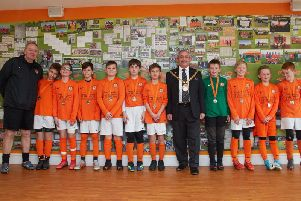 Rugby Town Under 12s Lions with Mayor Cllr Tom Mahoney at Kilsby Lane on Sunday