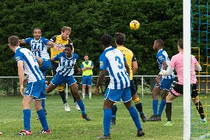 Sam Pearce scored a superb header for Moneyfields. Picture: Keith Woodland