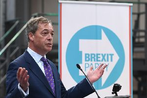 Nigel Farage speaking at the launch the Brexit Party's European Parliament elections campaign in Coventry. Picture: Joe Giddens/PA Wire