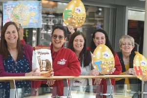 BID Leamington's Alison Shaw is pictured far left with, from left to right retailers Ramandeep Kaur, Paula Clarke, Niki Martin, and Colette Fortnum with golden eggs to be found on the Great Easter Egg Hunt.
