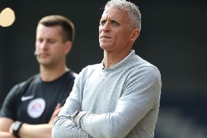 Keith Curle watches on at Gigg Lane. Picture: Pete Norton
