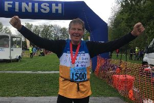 David Phillips after he crossed the finish line at the Stratford Marathon. Photo supplied.