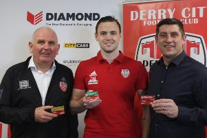 Sean Barrett, (Derry Chief Executive), Darren McCauley and Declan Devine (Derry City Manager) pictured at the launch of the Derry City half-season ticket.