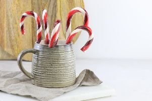 Sloe gin flavoured candy canes by Hollie's Lollys.