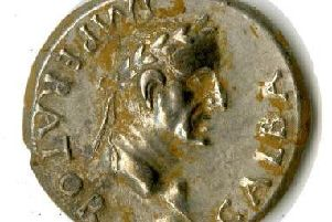 One of the Roman coins. Photo by Warwickshire County Council.