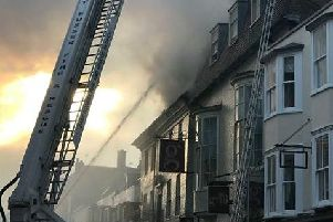 An aerial ladder platform was used to tackle the blaze. Picture: Megan Wright